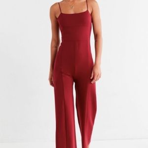 Urban Outfitters Audrey Burgundy Ponte Jumpsuit